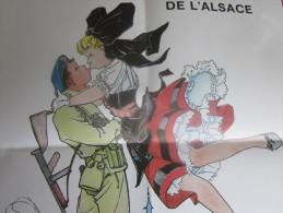 """AFFICHE 40é ANNIVERSAIRE LIBERATION DE L'ALSACE """"LES RETROUVAILLES"""" Signé André ANCIEN 1er BATAILLON DE CHOC  MILITARIA - Documents"""