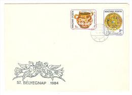 HONGRIE HUNGARY FDC PREMIER JOUR VESZPREM 22/11/1984 57 BELYEGNAP 1984 - FDC