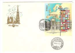 HONGRIE HUNGARY FDC PREMIER JOUR BUDAPEST 4/11/1986 EUROPAI BECS 1986 - BLOC N° 018664 - FDC