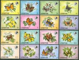 1984 Lesotho Farfalle Butterflies Papillons Fiori Flowers Fleurs Set MNH** UL49 - Lesotho (1966-...)
