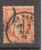 CERES N° 38 Siège De Paris, 40 C Orange Vif Obl Cachet à Date LE MANS, Sarthe 2 NOV 1876, TB - 1870 Siege Of Paris