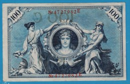 DEUTSCHES REICH 100 MARK 7.02.1908  Alpha 4727982E  P#33a - [ 2] 1871-1918 : German Empire