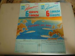 CB9 LC146 Dépliant Home Lines Homeric 1955 6 Days Canada/Europe - Bateaux