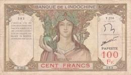 Polynesie Francaise Tahiti Papeete Billet Coin Note Monnaie Banque Indochine 100 F Surcharge Papeete - Papeete (Polynésie Française 1914-1985)