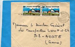 MARCOPHILIE- Lettre R C A >Françe-cad-BOUAR-1972-2-stamps N°183 Centraphilex-centre Protestant - Centrafricaine (République)