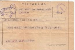 3988FM- TELEGRAMME SENT FROM CLUJ NAPOCA TO ORADEA, 1962, ROMANIA - Télégraphes