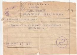 3989FM- TELEGRAMME SENT FROM CLUJ NAPOCA TO GHEORGHIENI, ROMANIA - Télégraphes