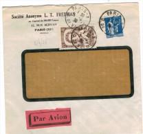 F443 - AMPERE + PAIX SUR LETTRE AVION AU TARIF X SUEDE 5-6-36 ARR AU DOS - Brieven En Documenten