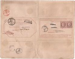 Lettre - SEINE Et MARNE - COULOMMIERS - PC.1172 S/paire TP Cérès N°58  S/Avis De Sort CHARGE D´OFFICE - 1873 - 1871-1875 Cérès