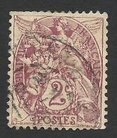 France, 2 C. 1900, Sc # 110, Mi # 87, Used. - 1900-29 Blanc
