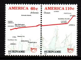 Surinam MNH Scott #899a Se-tenant Pair Diagram Showing Columbus' Route - 500th Ann Discovery Of America - Surinam