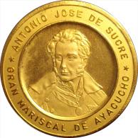 VENEZUELA. MEDALLA OFICIAL DEL SESQUICENTENARIO DE LA BATALLA DE AYACUCHO. 1.974. DORADA - Royal / Of Nobility