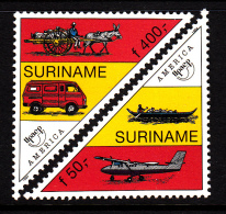 Surinam MNH Scott #989-#990 Set Of 2 America Issue: Post Vehicles - Airplane, Canoe, Van, Donkey Cart - Surinam