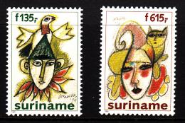 Surinam MNH Scott #1026-#1027 Set Of 2 Paintings Of Jesters By Corneille - Surinam