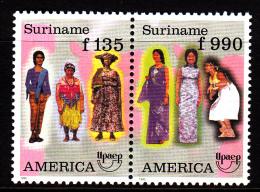 Surinam MNH Scott #1057a Se-tenant Pair America Issue: Women's Traditional Costumes - Surinam