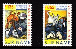 Surinam MNH Scott #1063-#1064 Set Of 2 Youth Care: Paintings By Jan Telting - Surinam