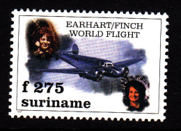 Surinam MNH Scott #1086 275f Retracing And Completion Of Earhart's Route By Lindda Finch - Surinam