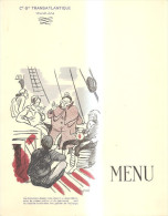 75368) MENù CIE GLE TRANSATLANTIQUE-FRENCH LINE -PAQUEBOT COLOMBIE-CROCIERA SUL BALTICO-28-8-1935 - Menus