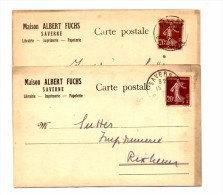 Carte Cachet Saverne Sur Semeuse Entete Librairie Fuchs - Postmark Collection (Covers)