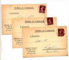 Carte Cachet Strasbourg Sur Semeuse Entete Librairie Vix - Marcophilie (Lettres)