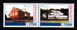 Surinam MNH Scott #1260 Se-tenant Pair America Issue: Paramaribo Buildings - Bishop's House, Presidential Palace - Surinam