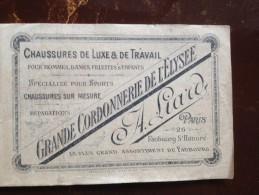 PARIS, CARTE PUBLICITAIRE, GRANDE CORDONNERIE DE L'ÉLYSÉE , VERS 1920,   26 FAUBOURG ST HONORE - Reclame