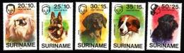 Surinam MNH Scott #B231-#B235 Set Of 5 Dogs: Pekingese, German Shepherd, Dachshund, Retriever, Terrier - Surinam