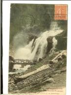 Cauterets, Cascade De Lutour Ou De Pisse-Arros - Recto : Timbre Semeuse Lignée Vermillon 50c Cachet-flamme Bordeaux 1927 - Cauterets