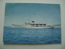 CITTA DI NAPOLI    TIRRENIA SOCIETA DI  NAVIGAZIONE NAVE SHIP  POSTCARD   USED  NAVE  PIROSCAFO  BATEAUX - Piroscafi