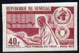 Senegal 1972, World Heart Month 40f IMPERFORATED Colour Trial Proof - Medizin