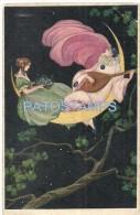33458 ART ARTE WOMAN AND PERROT WITH MANDOLIN ABOVE OF THE MOON BREAK POSTAL POSTCARD - Kunstvoorwerpen