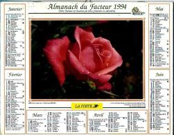 ALMANACH DES P.T.T 1994 (57)  -  Complet** ROSE SUPERSTAR - AMARYLLIS Ou LIS SAINT JACQUES ** Calendrier *OLLER * N° 222 - Calendriers