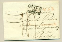 Nederland - 1825 - Pays Bas Par Valenciennes En LPB5R Op Complete Brief Van Amsterdam Naar Paris - ...-1852 Voorlopers