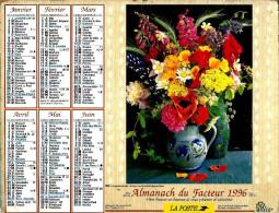 ALMANACH DES P.T.T 1996 (57)  -  Complet** COMPOSITION FLORALE - FLEURS EN BOUQUET ** Calendrier *OLLER * N°226 - Calendriers