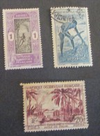 A.O.F. Dahomey Huile Du Palme Agricolture 3 Stamps Used - A.O.F. (1934-1959)
