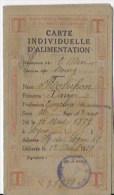 Guerre 1914 1918 Carte Individuelle D'alimentation - Documentos Antiguos