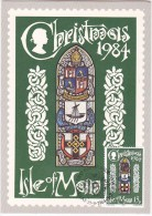 LONAN CHURCH STAINED GLASS WINDOW CHRISTMAS FDC (actual Christmas Card) ISLE OF MAN Stamps Religion Christianity Cover - Christmas