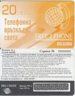 BULGARIA - Free 2 Phone Prepaid Card 20 Leva(CN At Top), Sample - Bulgaria