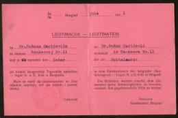 Serbia Belgrade WW2 - Legitimation - AUSWEIS - Bilingual ID CARD (medical Person)1941 - Documents