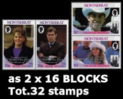 MONTSERRAT 1986 Wedding Princess Anne OVPT:The Duke 16-blocks:2 (32 Stamps)   [Aufdruck,surimprimé,sobreimpreso] - Montserrat