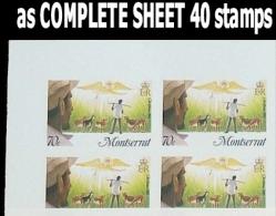 MONTSERRAT 1985 Christmas Xmas 70 Sheep Goat Lambs COMPLETE IMPERF.SHEETS:40stamps  [feuilles, GanzeBogen,hojas,foglios] - Montserrat