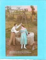 CPA COLORISEE FETE - BONNE ANNEE 1922 - Couple Devant Un Puits - ENCH1202 - - Nouvel An