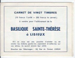 Carnet  De 20 Timbres - Erinnophilie