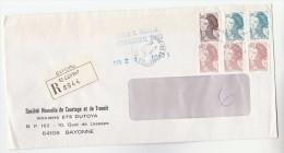 1984 REGISTERED Bayonne St Esprit FRANCE COVER Stamps 3.00 2x 5.00 3x0.60 - France