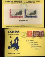 FDC SANDA  Europa 1962  Block Sur Carte Circulée - Ortsausgaben