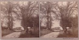 Vieille Photo Stereoscopique Pas De Calais Rixent 1925 2 Hommes Assis Bord De Route Entree Village Eglise Second Plan - Stereoscopic