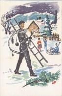 Chimney Sweep Ramoneur Schornsteinfeger Ladder Children Sled Winter Clover 1967 - Métiers