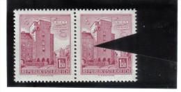 """PLF160 ÖSTERREICH 1958 Michl  1047  PLATTENFEHLER """" PUTZ Bröckelt """" Im PAAR Mi Normaler MARKE Siehe ABBILDUNG - Abarten & Kuriositäten"""