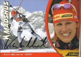 AK Biathlon Kati Wilhelm Original Autograph Card Autogramm - Wintersport