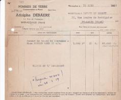 FACTURETTE De Adolphe DEBAERE - Consommation Et Plants De Pommes De Terre 21, Rue De L' Industrie à WERVICQ-SUD (59) - Agricultura
